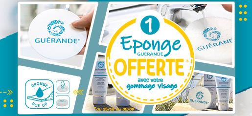 1 Eponge Guérande offerte* pour toute achat d'un gommage fondant visage